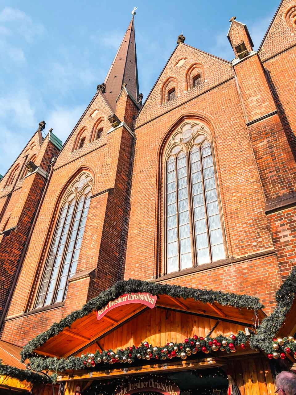 A Christmas market stall outside St. Peter's Church in Hamburg