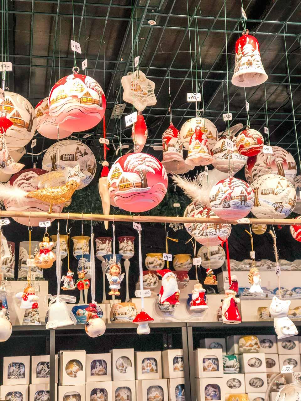 Handmade Christmas decorations and baubles at a Hamburg Christmas market