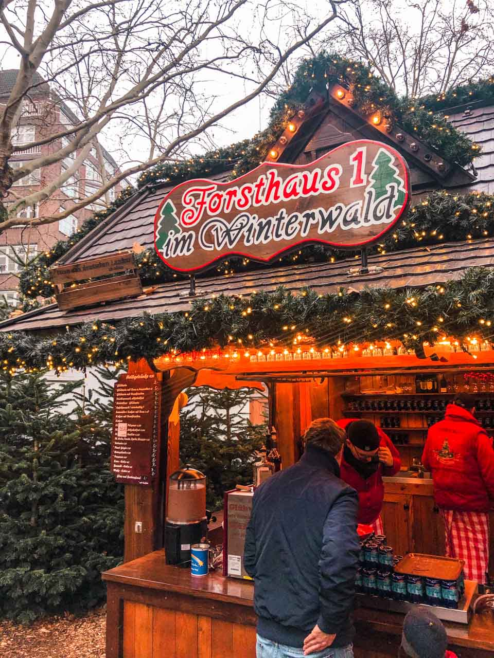A stall selling mulled wine at a Christmas market in Hamburg