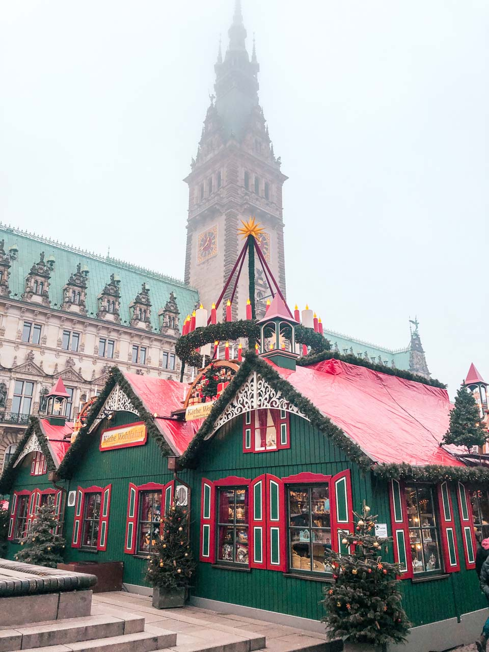 Festive stalls at the City Hall Christmas Market in Hamburg