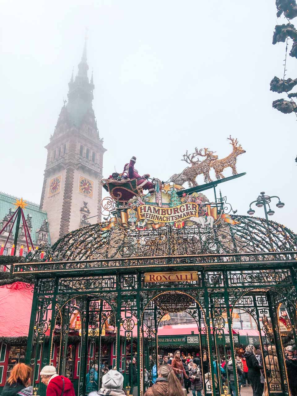 Festive decorations at the City Hall Christmas Market in Hamburg
