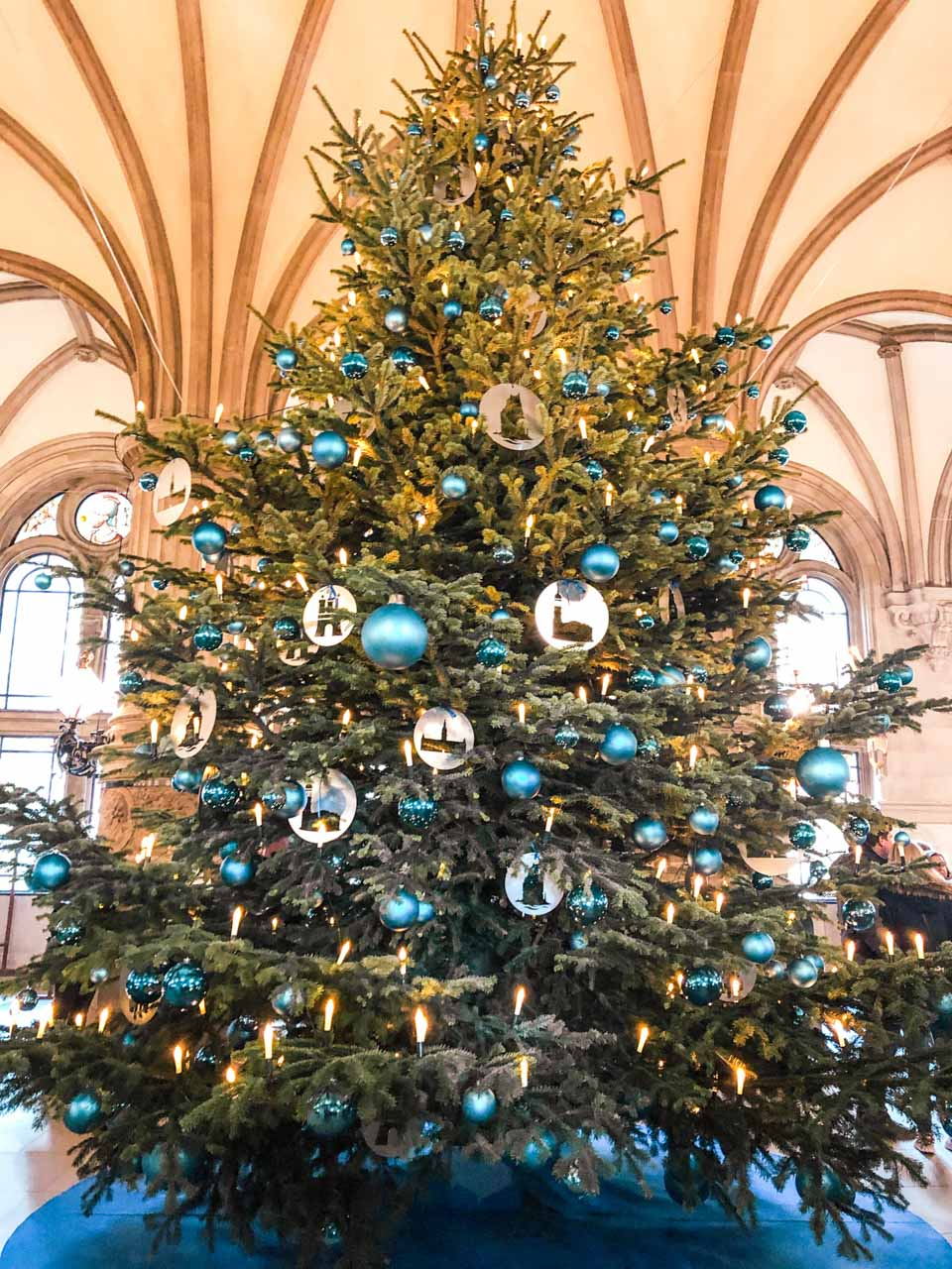 A Christmas tree inside the City Hall building in Hamburg