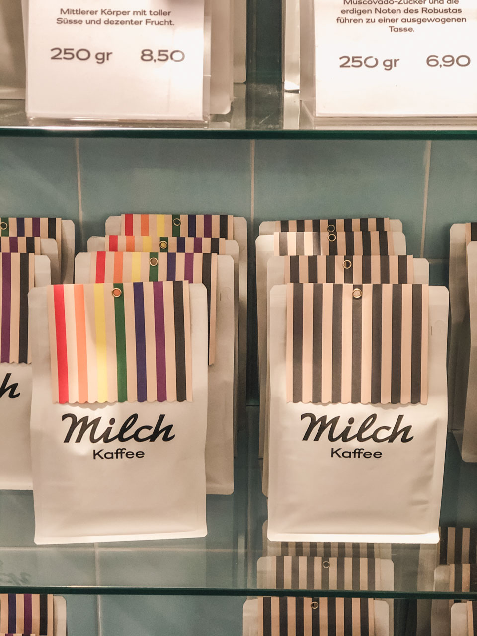 Coffee bags inside Milch café in Hamburg