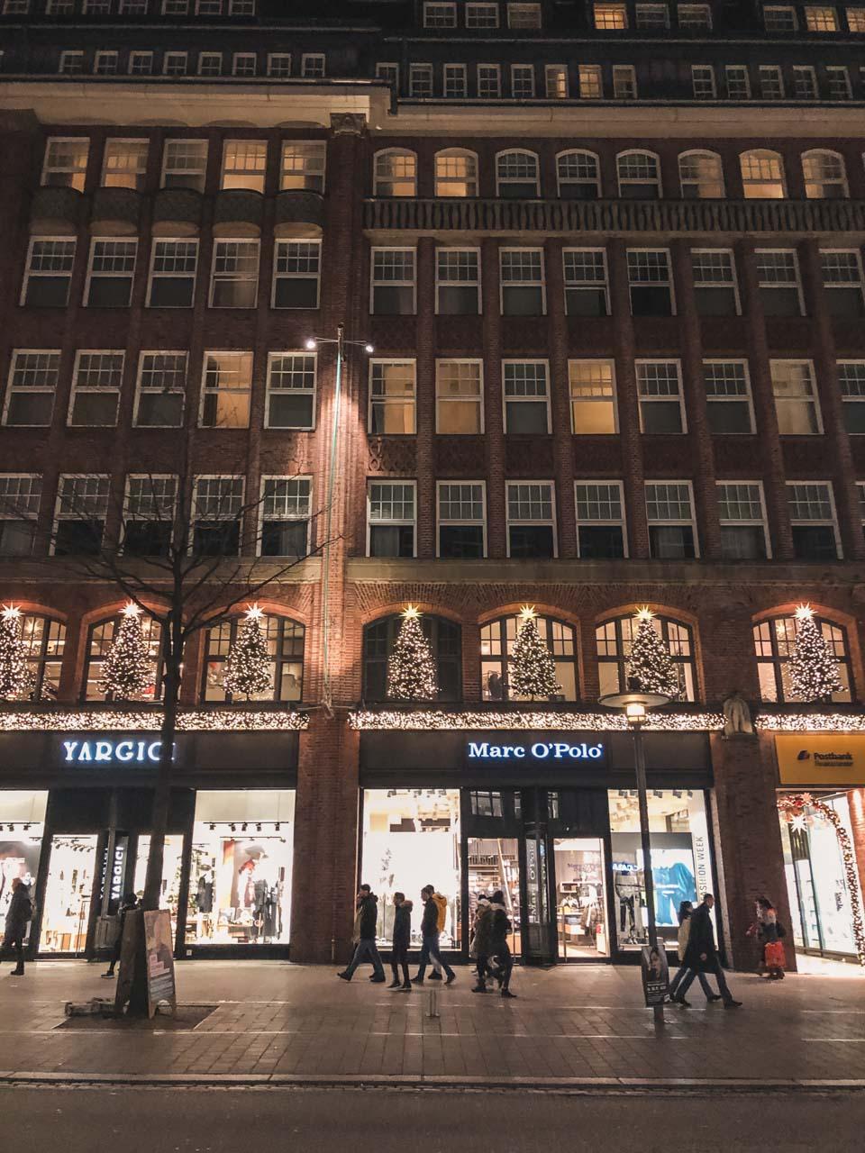 Christmas lights and Christmas trees on the streets of Hamburg