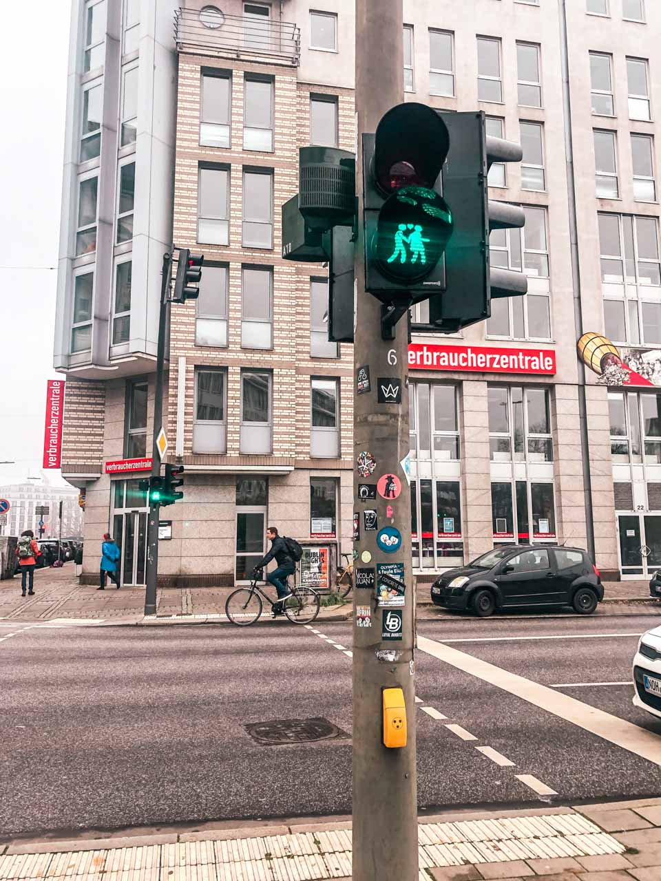 Traffic lights showing a couple holding hands in Hamburg, Germany
