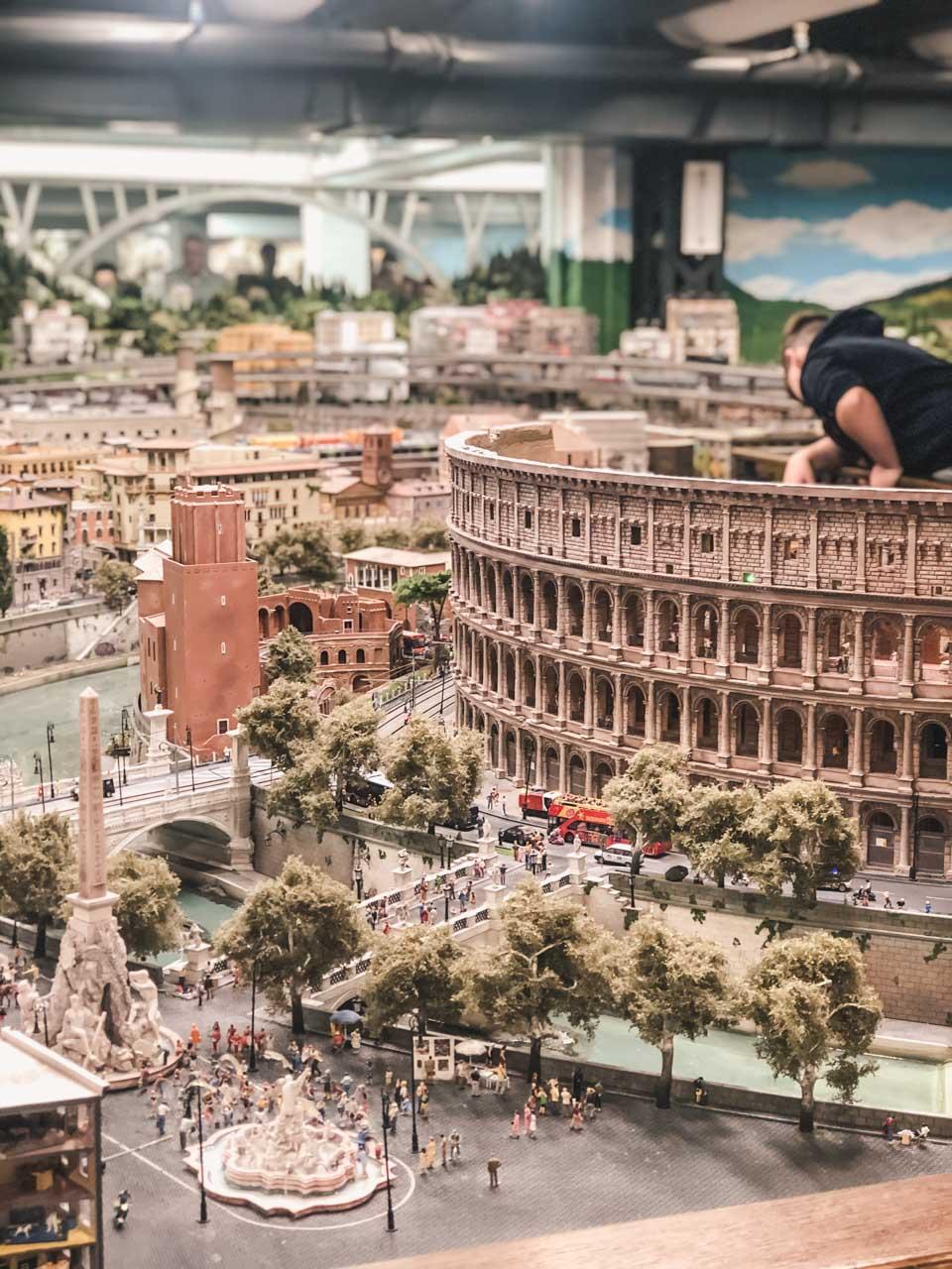 A model of the Colosseum inside Miniatur Wunderland in Hamburg