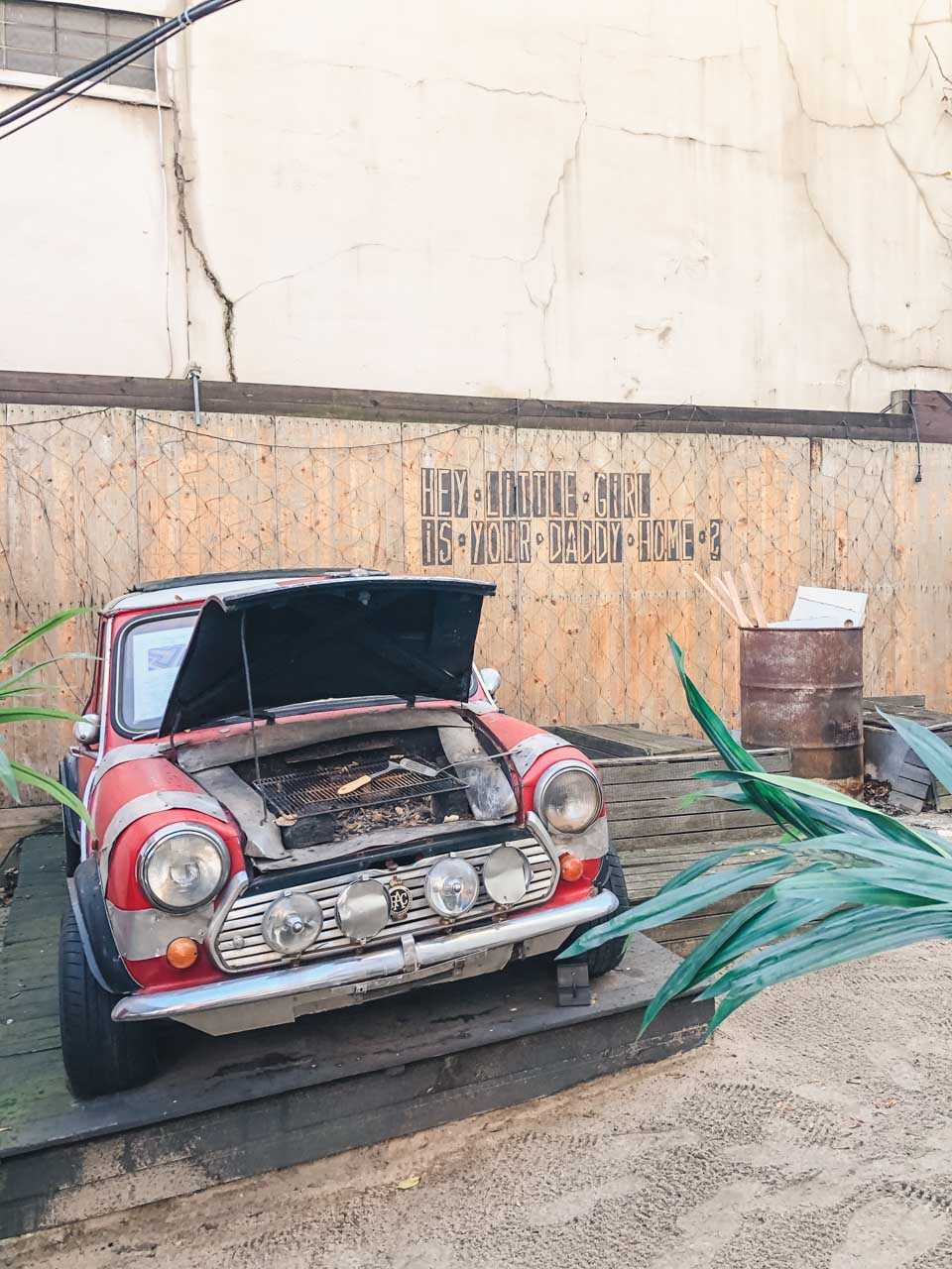 A vintage car transformed into a barbecue