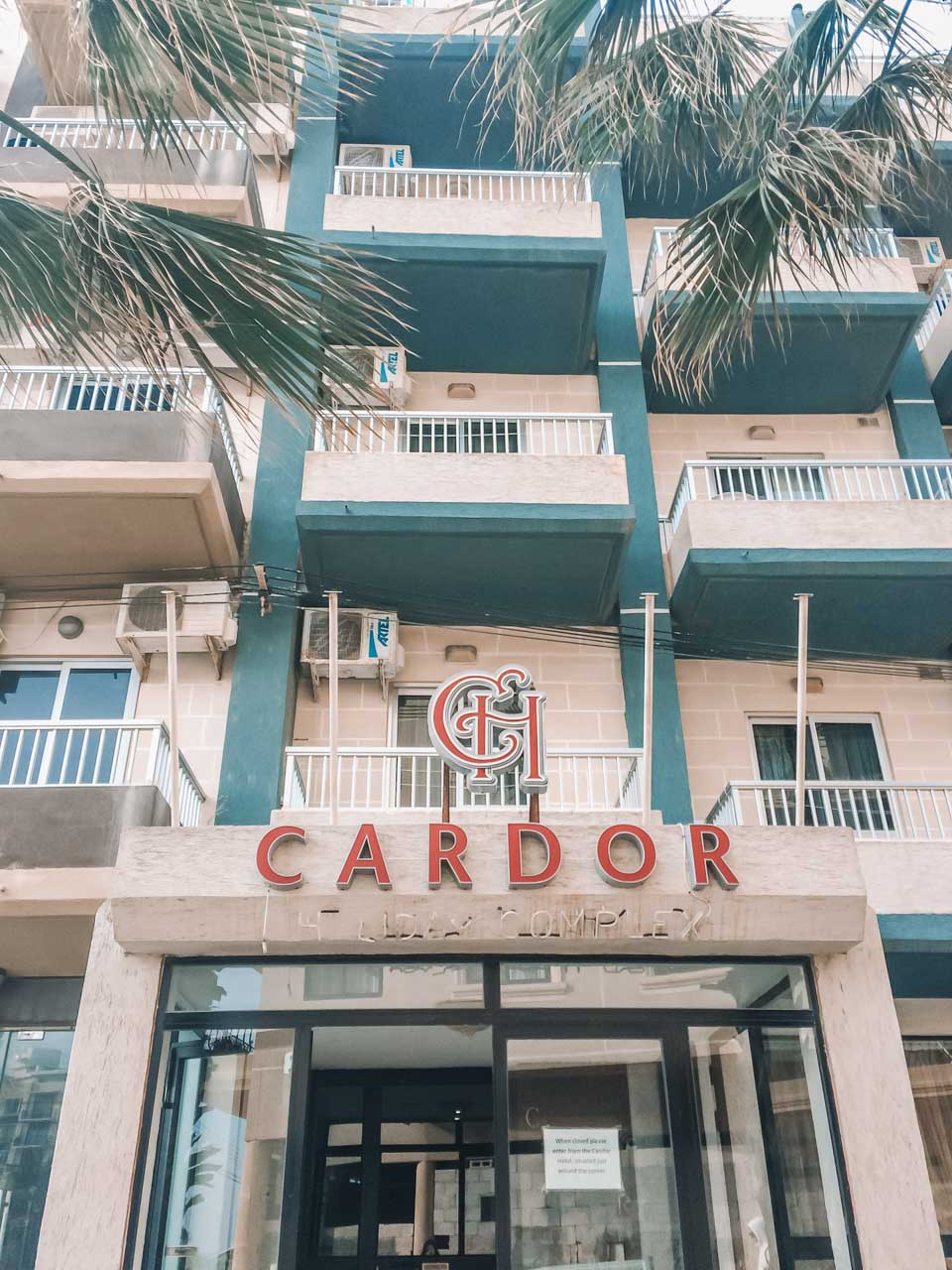 The outside of Cardor Holiday Complex in Bugibba, Malta