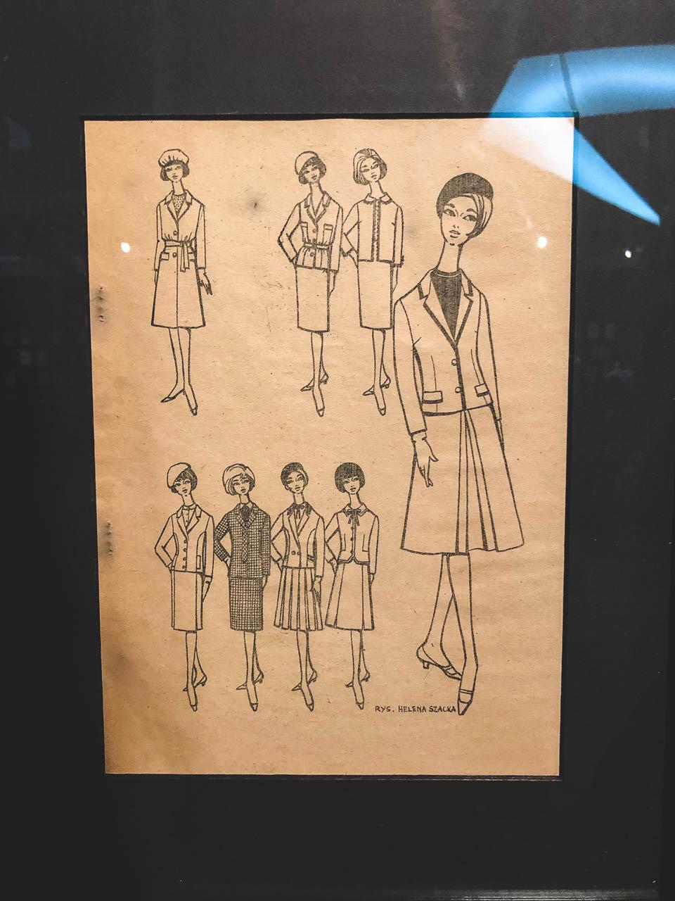 Fashion sketches of Moda Polska at The Central Museum of Textiles in Łódź, Poland