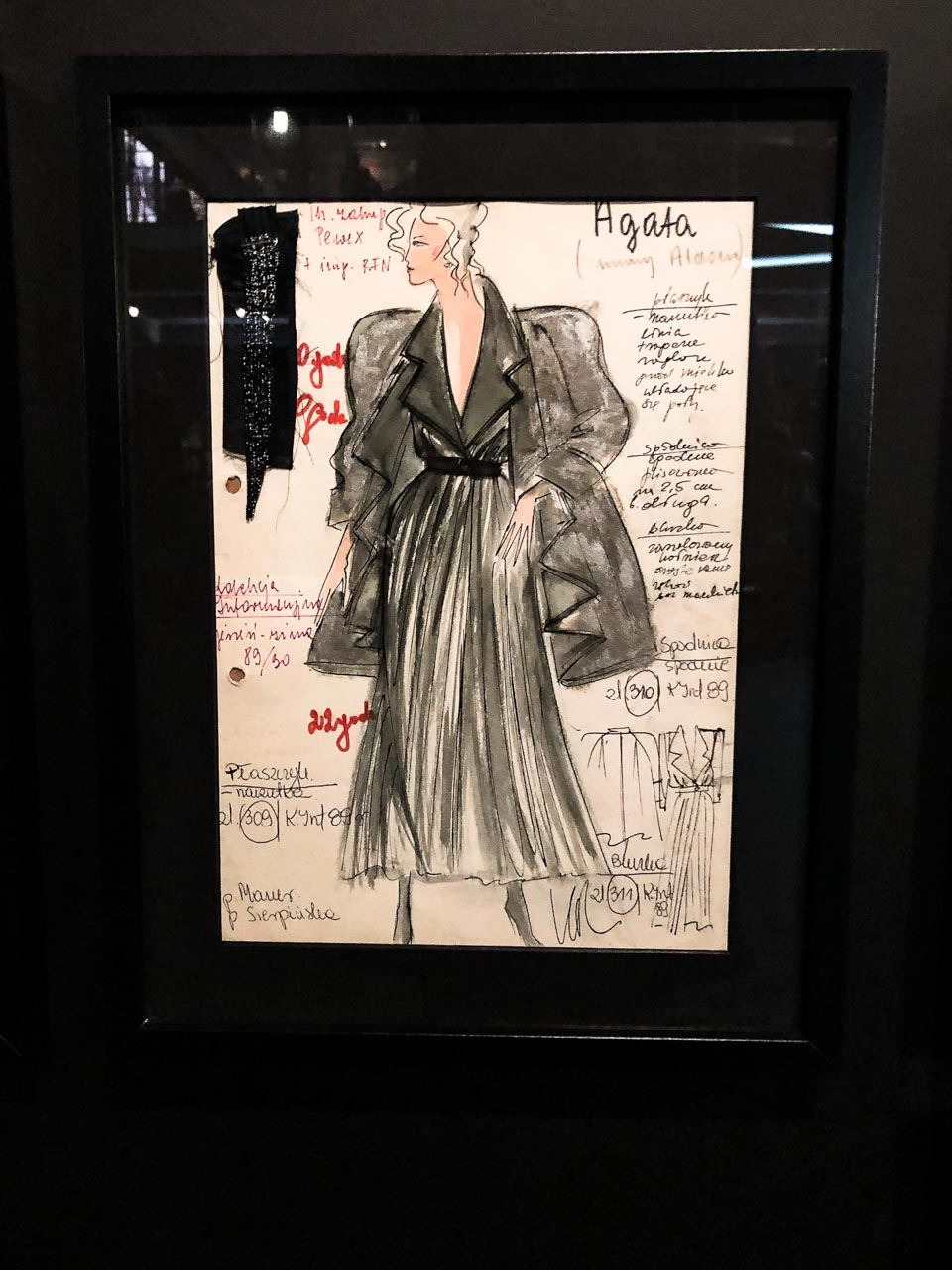 A fashion sketch of Moda Polska at The Central Museum of Textiles in Łódź, Poland