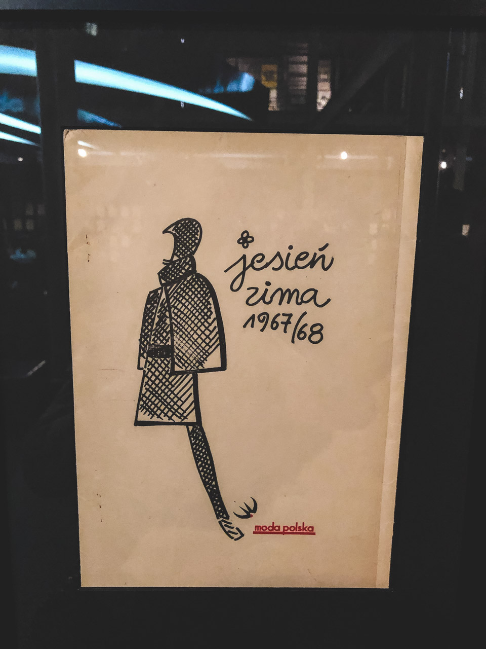 A graphic announcing the Autumn/Winter 1967/68 Moda Polska collection on display at The Central Museum of Textiles in Łódź, Poland