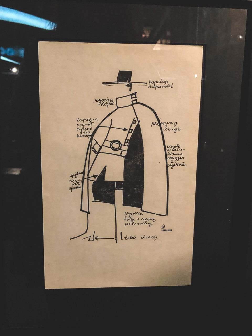 A fashion sketch at The Central Museum of Textiles in Łódź, Poland