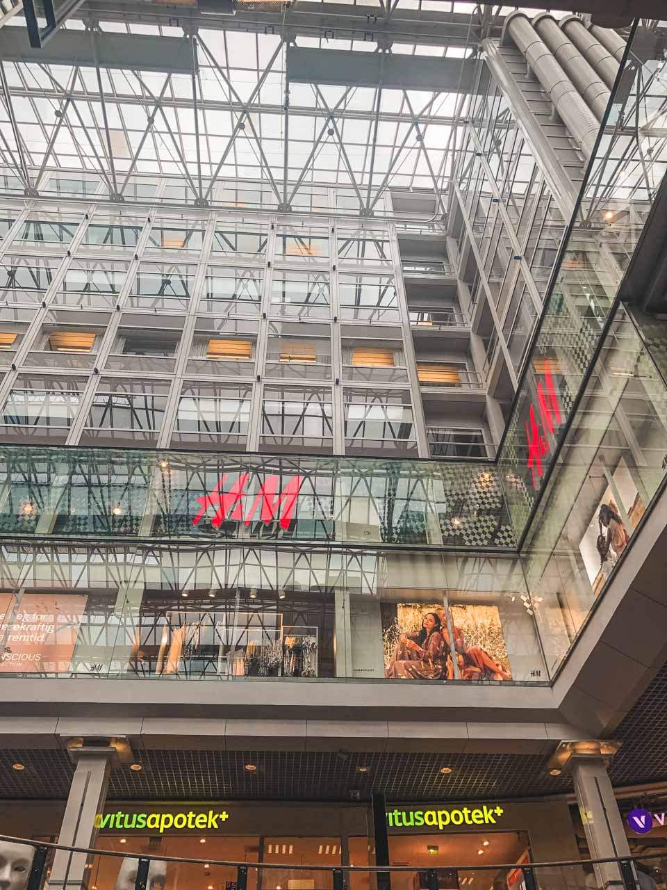 The inside of Oslo City shopping centre in Oslo, Norway