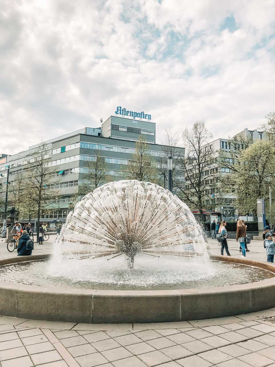 A fountain on Karl Johans gate in Oslo, Norway