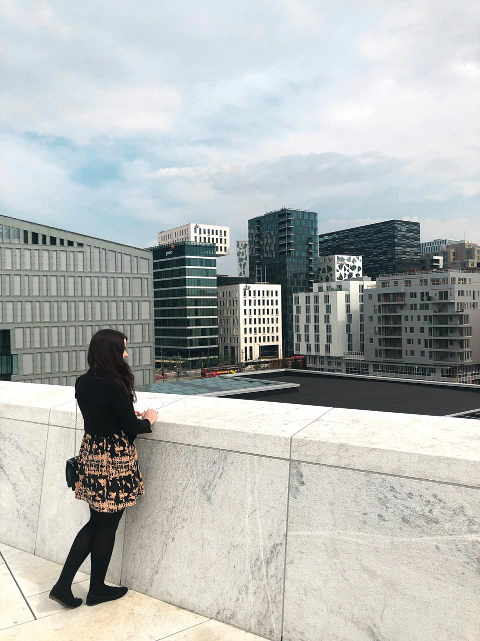 A girl in Oslo, Norway with the Barcode Project in the background