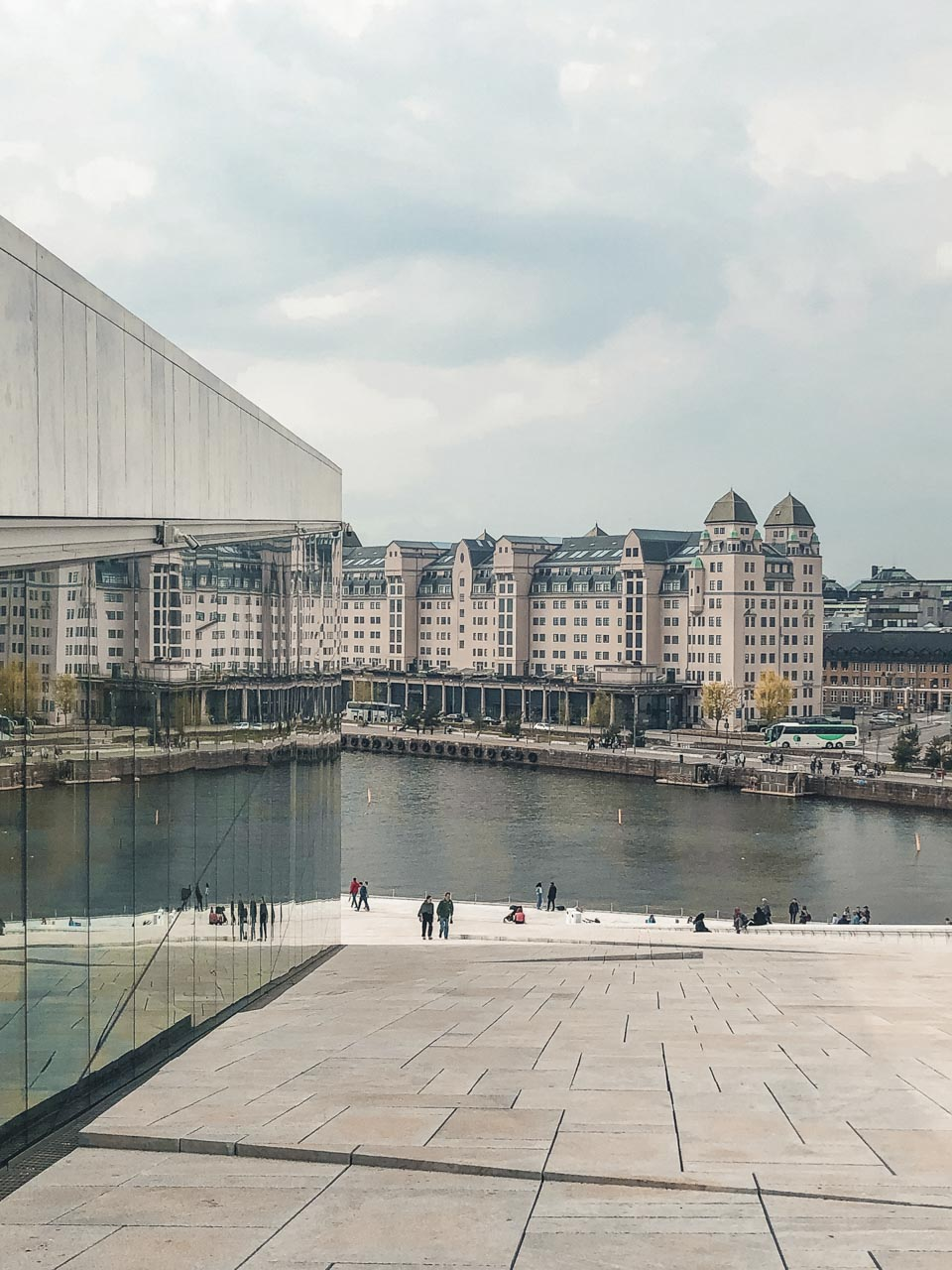 The view from the top of The Norwegian National Opera & Ballet in Oslo, Norway