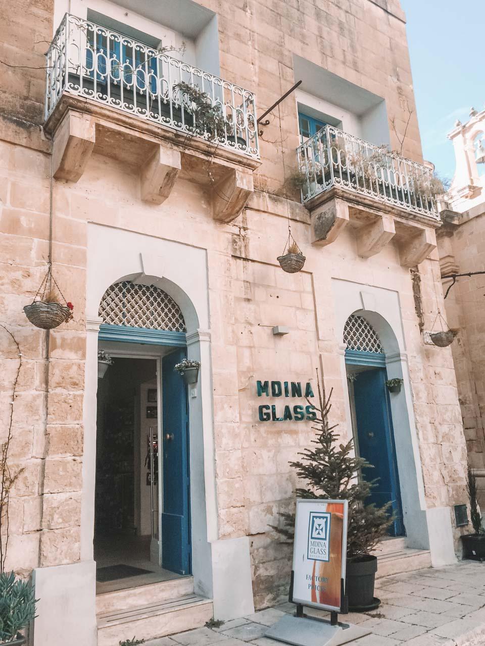A traditional souvenir shop selling glassware made of Mdina Glass in Mdina, Malta
