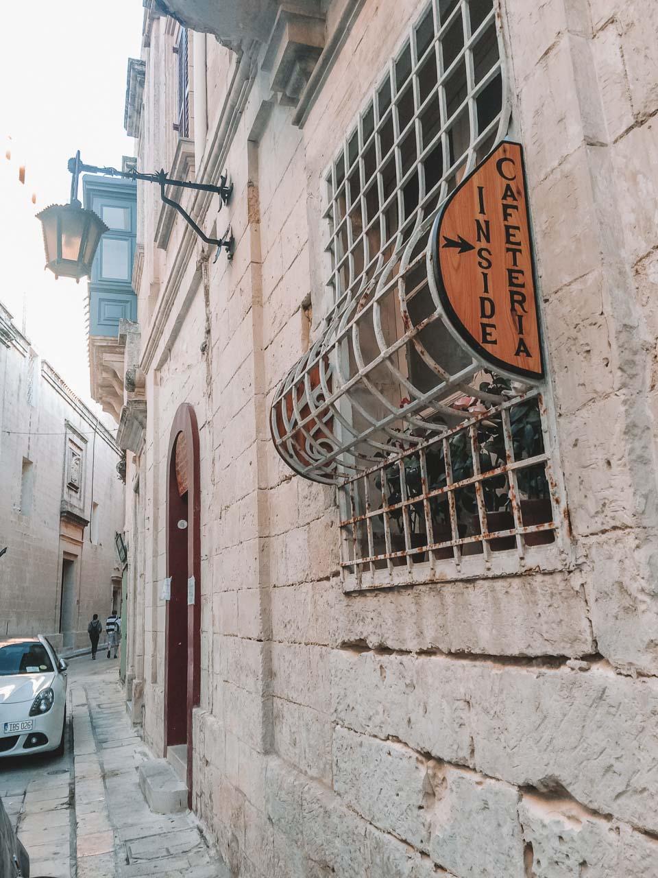 A cafeteria hidden inside a traditional Maltese house in Mdina, Malta