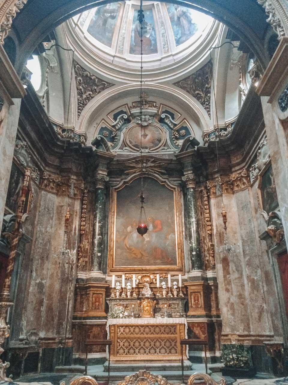 The inside of the Collegiate Parish Church of St. Paul's Shipwreck in Valletta, Malta