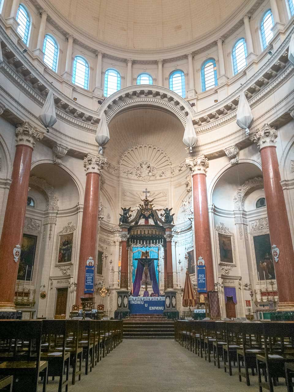 The inside of the Basilica of Our Lady of Mount Carmel in Valletta, Malta