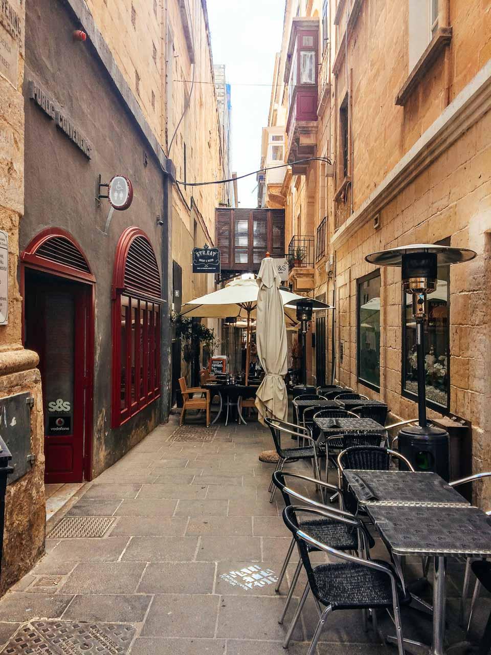 Tables on Strait Street in Valletta, Malta