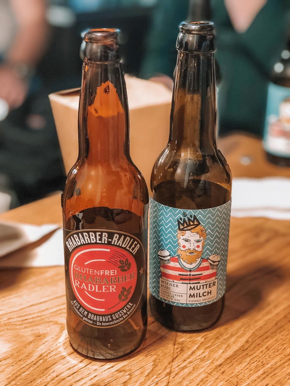 Two bottles of craft beer at Schachtelwirt in Vienna, Austria