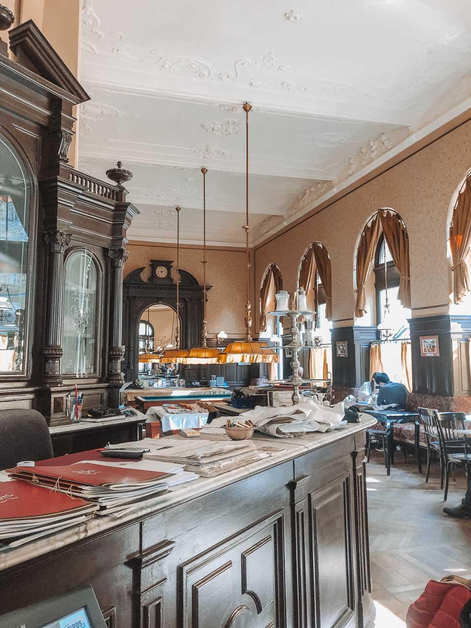 The inside of Café Sperl in Vienna, Austria