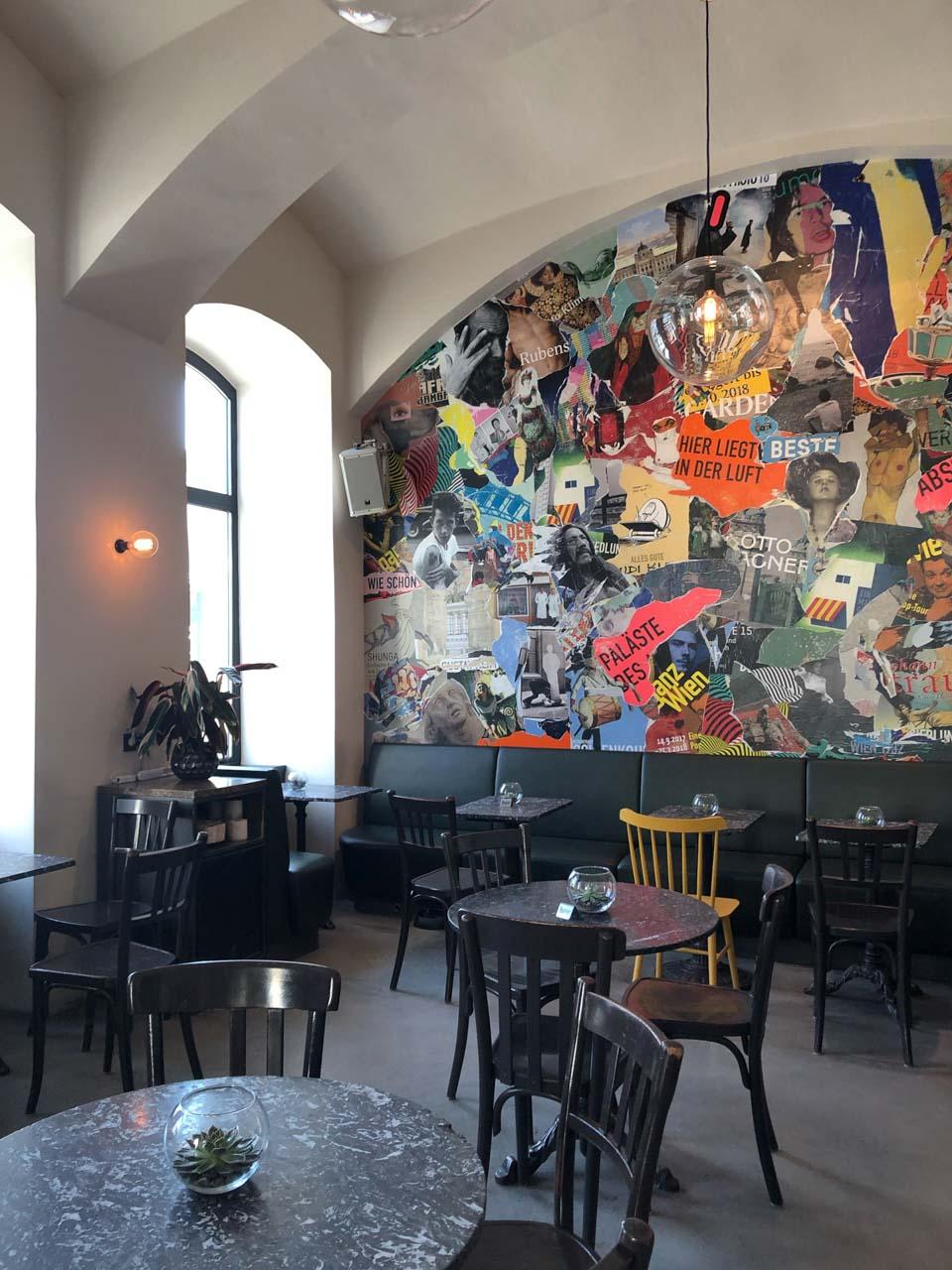 Wall art inside of Drechsler in Vienna, Austria
