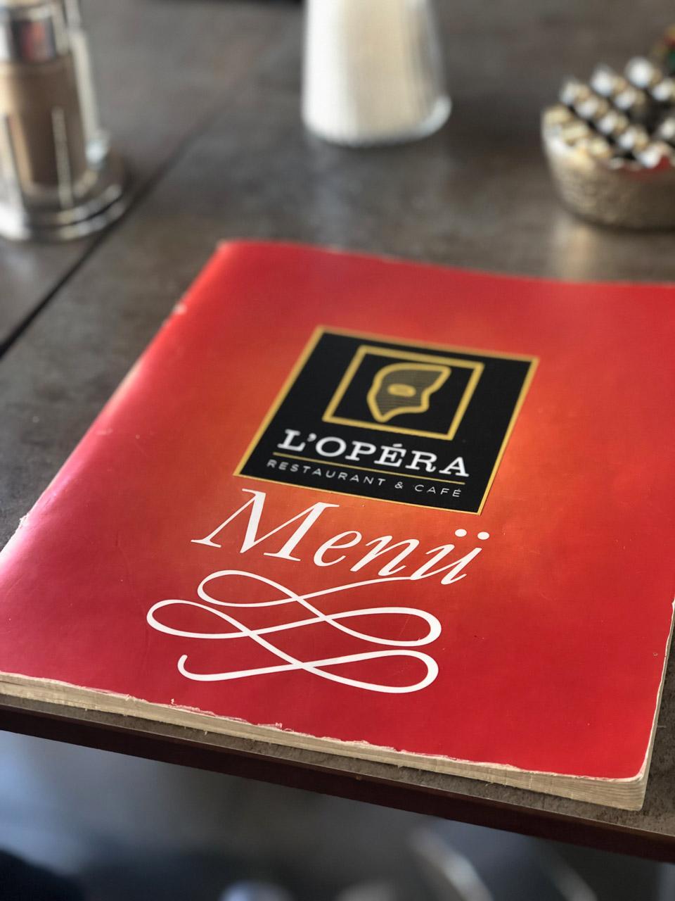 The menu at L'Opera Restaurant & Cafe in Vienna, Austria
