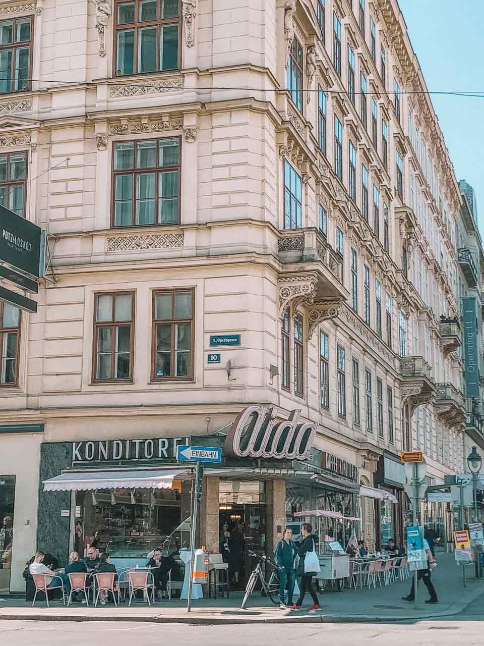 The outside of Aida café in Vienna, Austria