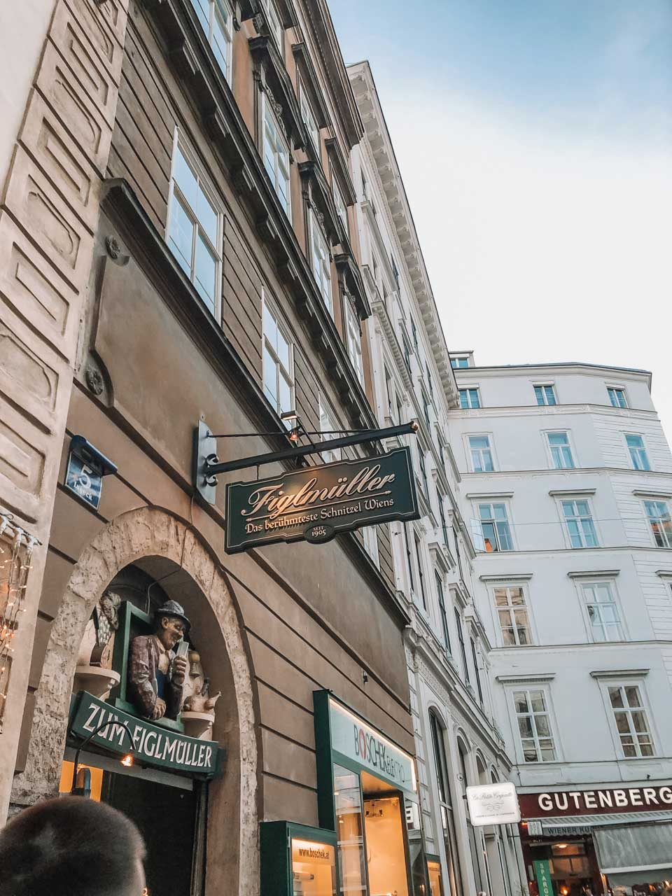 The outside of Figlmüller restaurant in Vienna, Austria