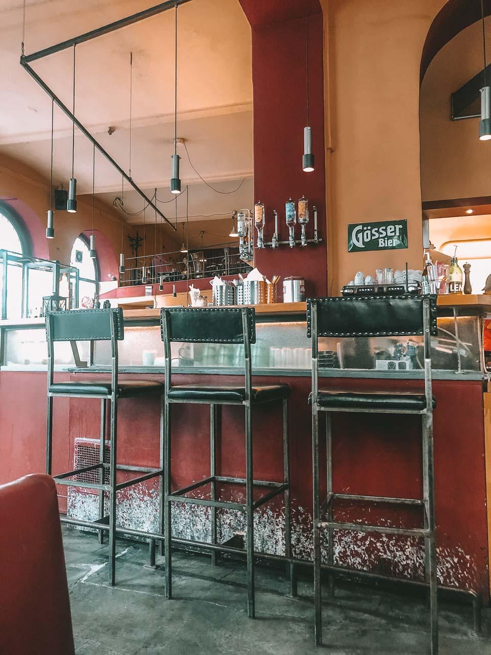 The inside of Café Aera in Vienna, Austria