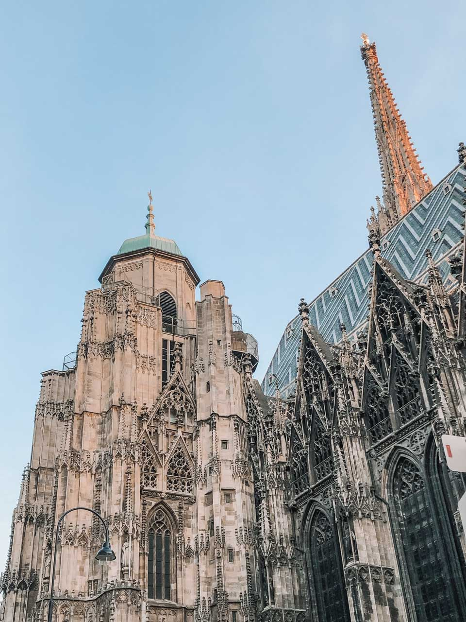The outside of Stephansdom (St. Stephen's Cathedral) in Vienna, Austria