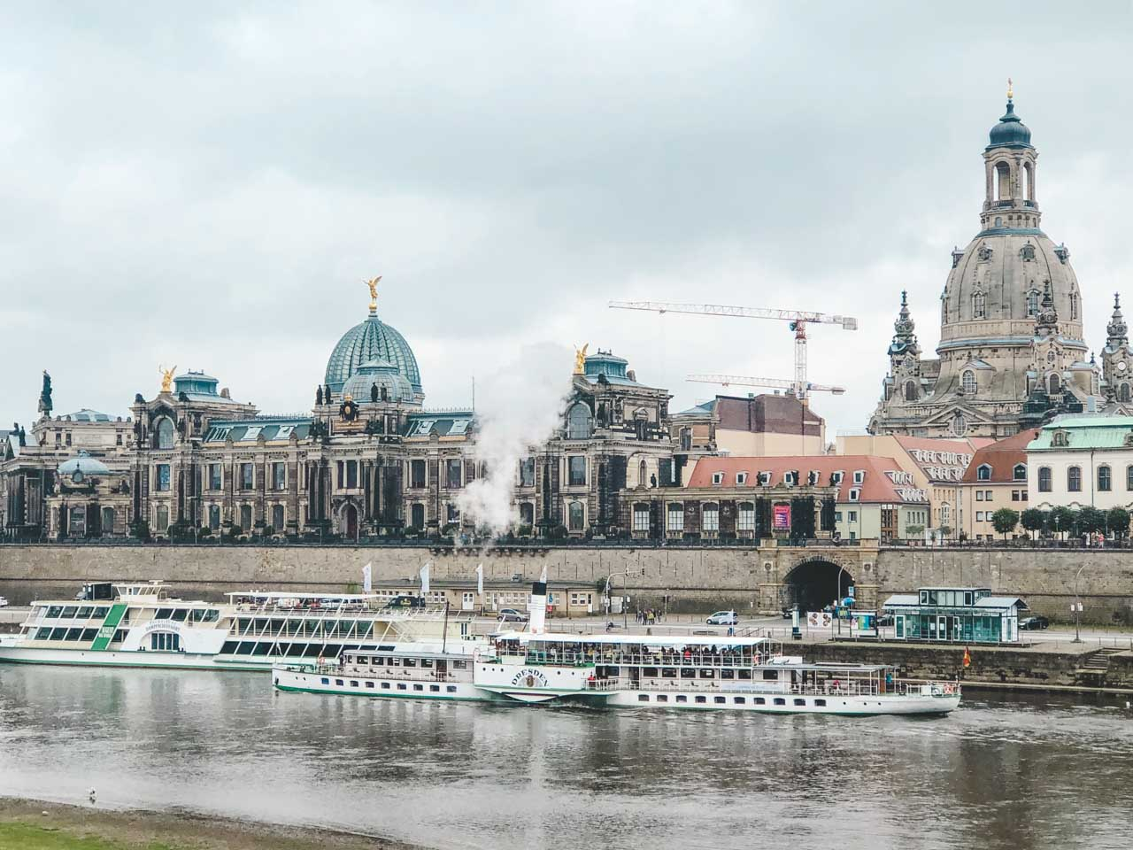 A steamboat on the Elbe river in Dresden, Germany with Bruhl's Terrace in the background