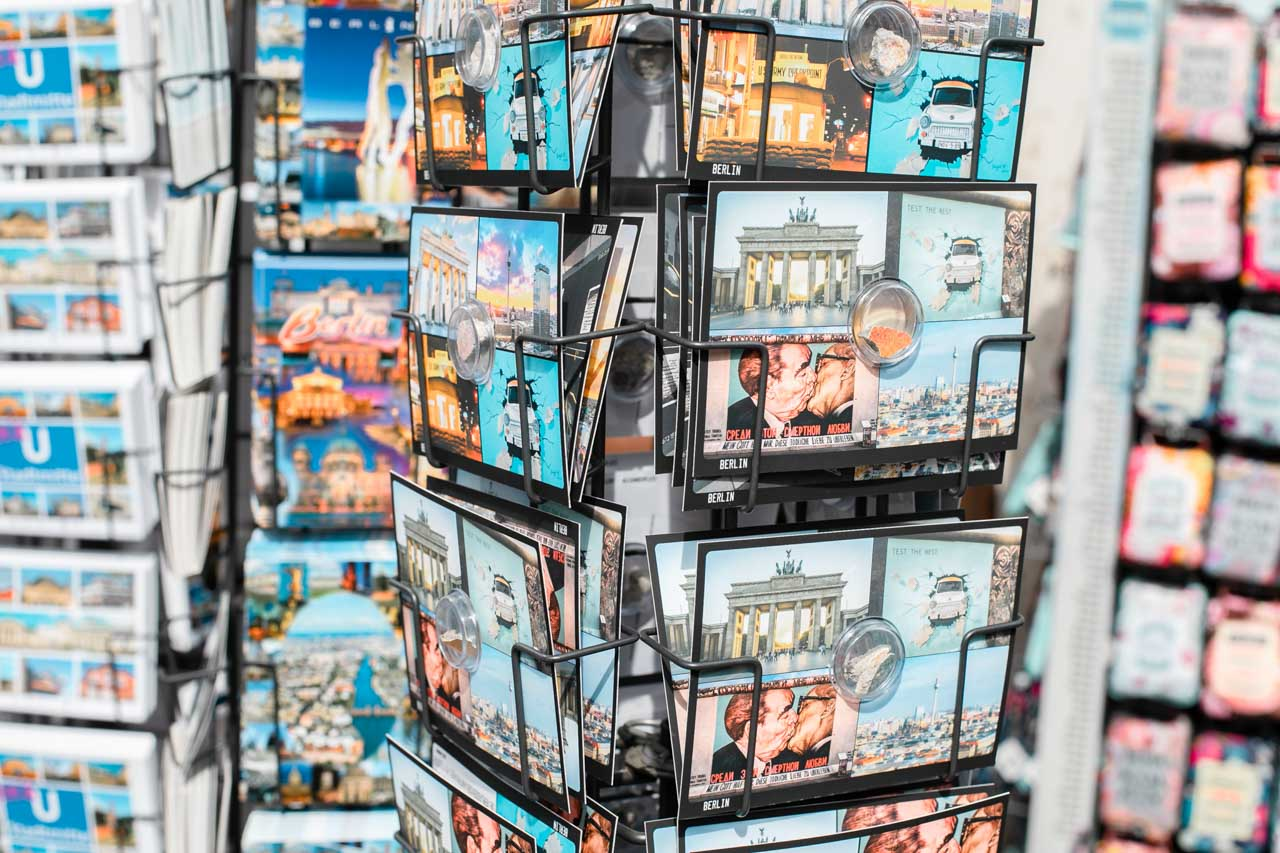 Postcard stands at a souvenir shop in Berlin, Germany