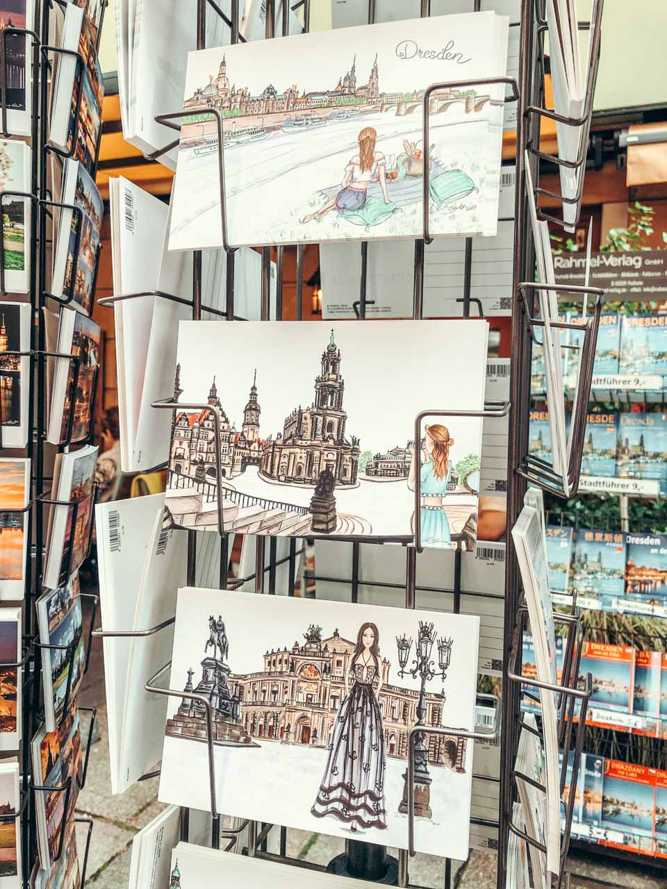 A stand with hand-painted postcards at a souvenir shop in Dresden, Germany