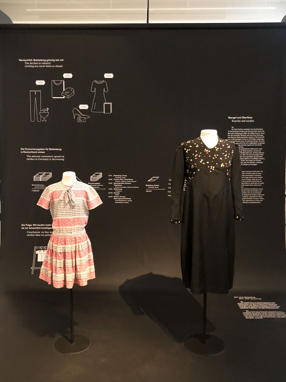 A women's and a girl's dress on display at the Museum of European Cultures in Berlin