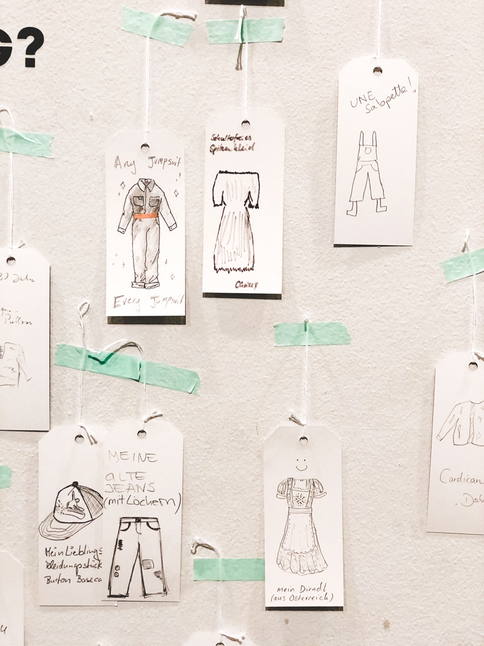 Several hangtags with garments drawn on them pinned to the wall