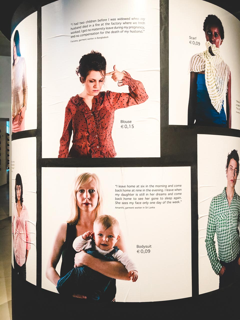 Photos of women wearing fast fashion clothing next to quotes by factory workers