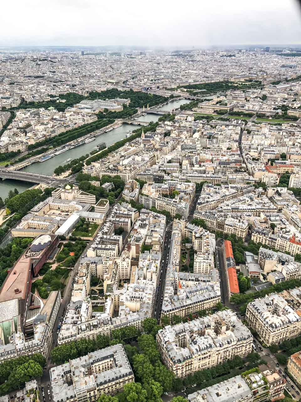 An aerial view of Paris, France seen from the top of the Eiffel Tower