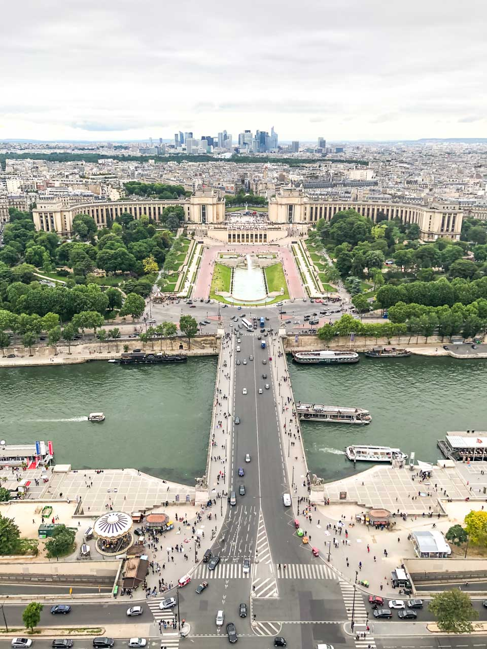An aerial view of the Jardins du Trocadéro (Gardens of the Trocadero) seen from the observation deck at the top of the Eiffel Tower in Paris, France